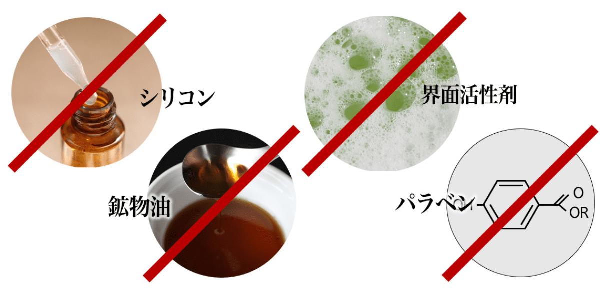 シリコン・鉱物油・界面活性剤・パラベン不使用